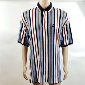 Izod Mens Polo Shirt Top Size XL Striped Collared